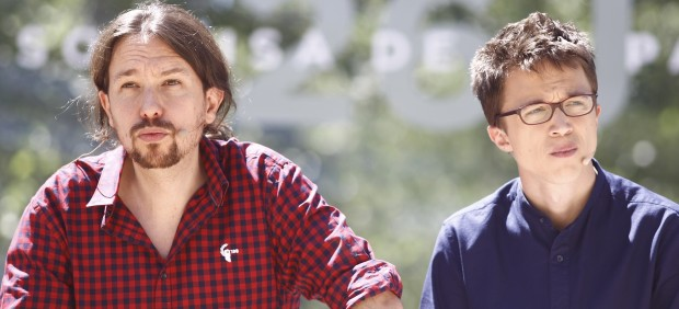 Pablo Iglesias e Íñigo Errejón en la presentación de la campaña de Podemos