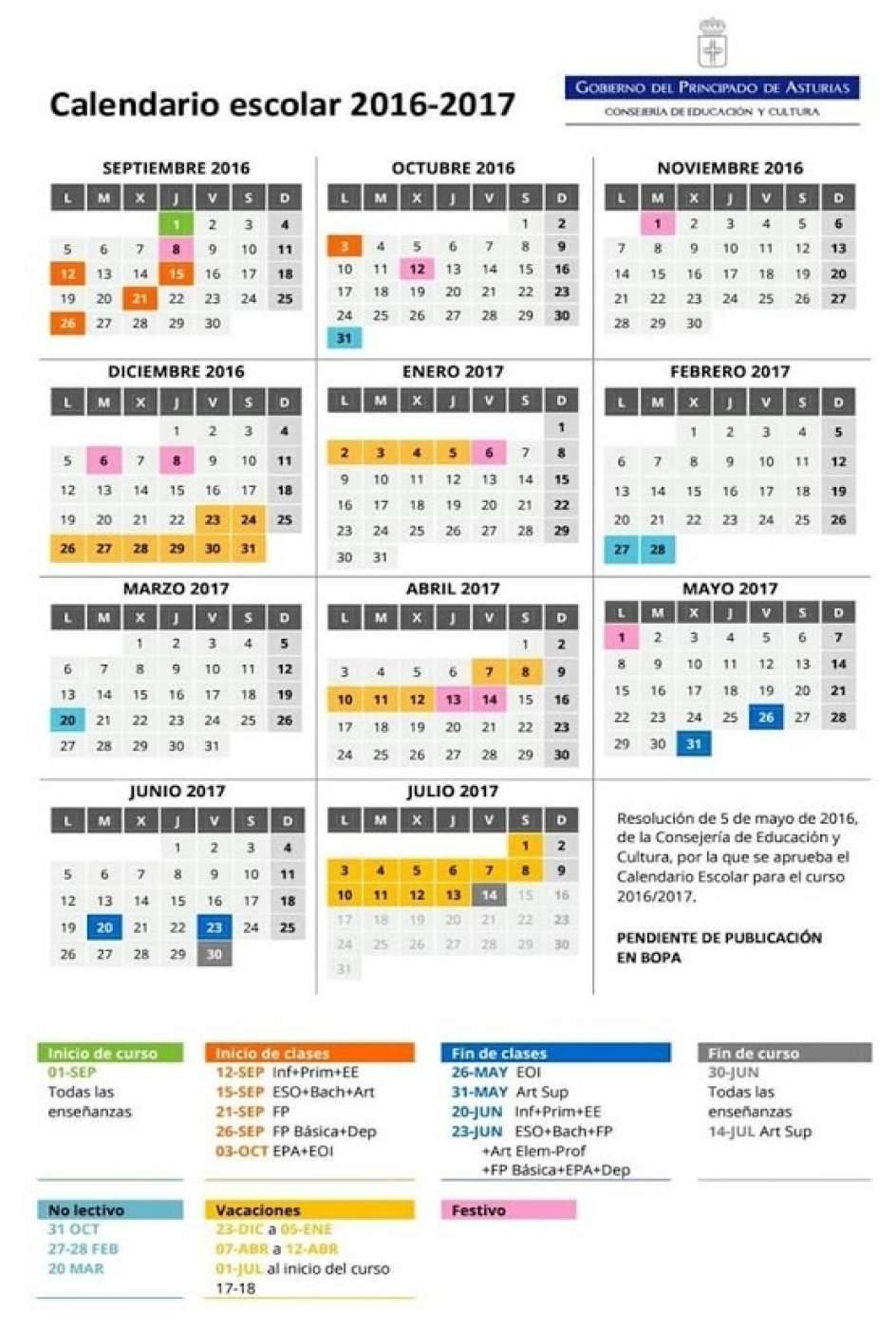 ... calendario escolar del curso 2016-2017 en el que se mantienen los tres