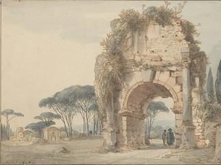 Louis-François Cassas (1756=1827). Landscape with Arch of Drusus, 1778