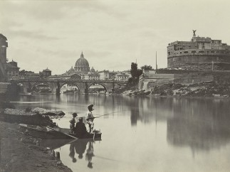 Gioacchino Altobelli (1814 – after 1878) - The Tiber with Castel Sant'Angelo and St. Peter's, c. 1868