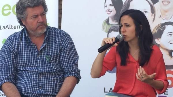 Ione Belarra y el portavoz de Equo, Juantxo López Uralde, en un acto en Tudela