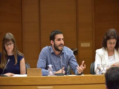 Elena Cívico y Sergi Pitarch en la comisión sobre el accidente del metro