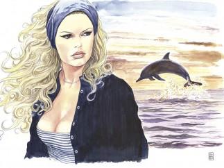 BB Delfino - Milo Manara - Aquarelle sur papier
