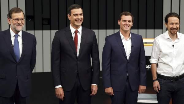 Candidatos en el debate  a cuatro