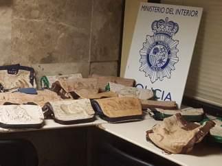 Bolsos incautados con droga en su interior