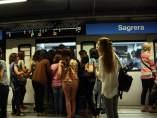 Aglomeraciones durante la huelga de metro de Barcelona.