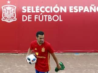Pedro, en un entrenamiento con la selección