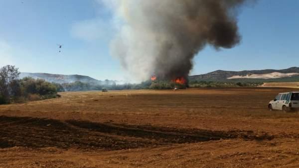 Imagen del incendio en Aguilar