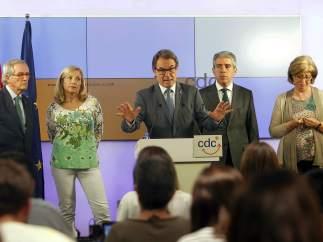 El presidente de CDC, Artur Mas, durante la comparecencia en la sede de su partido.