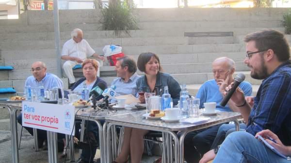 La portavoz nacional del BNG, Ana Pontón, en un desayuno en Vigo