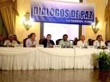 Mesa negociadora entre el Gobierno y las FARC.