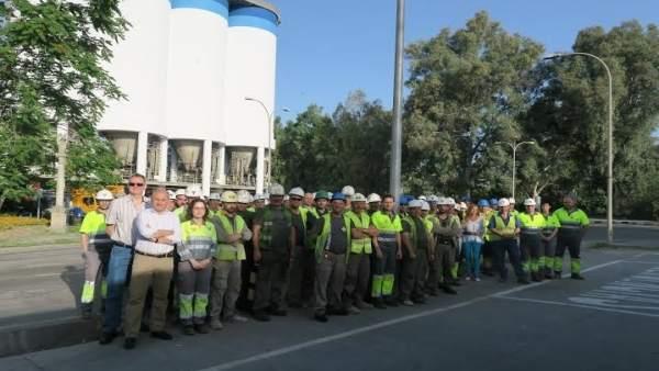 Trabajadores durante la celebración del Día de la Seguridad