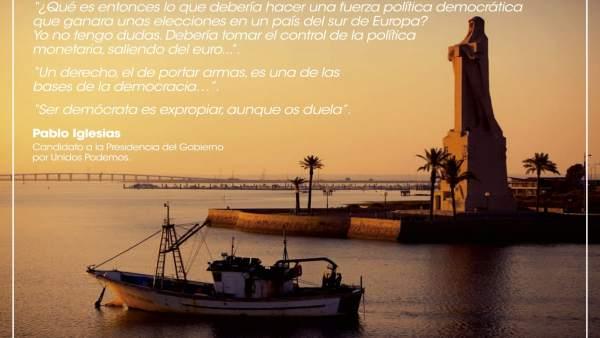Postal del PP de Huelva contra Pablo Iglesias