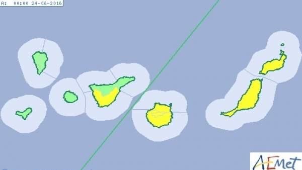 Aviso amarillo en Canarias