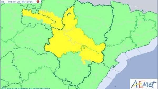 Alerta amarilla por temperaturas máximas en el Valle del Ebro