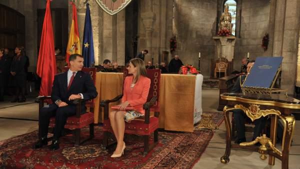 Los Príncipes de Asturias, en el Monasterio de Leyre.