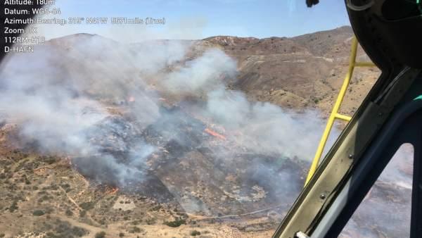 Imágenes del incendio tomada desde helicóptero de la DGSCE