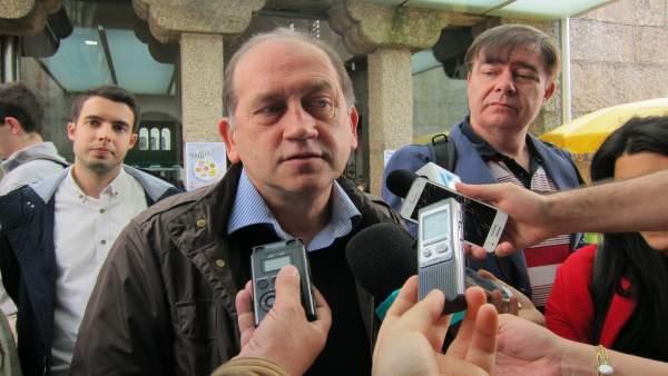 El candidato del PSdeG a la Xunta, Xoaquín Fernández Leiceaga, en declaraciones