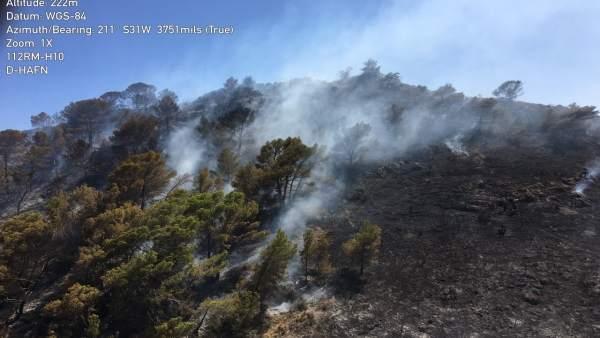 Incendio forestal en Portmán (La Unión)