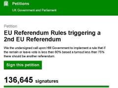Más de tres millones de firmas piden la repetición del referéndum del 'brexit'