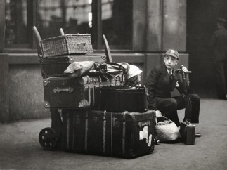E.O. Hoppe - School boy with luggage, Paddington Station, London, 1933