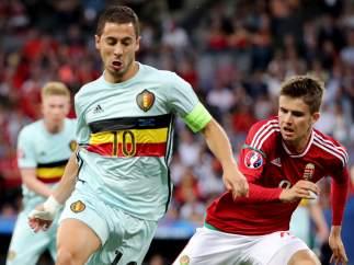 Hazard y Nagy en el Bélgica - Hungría
