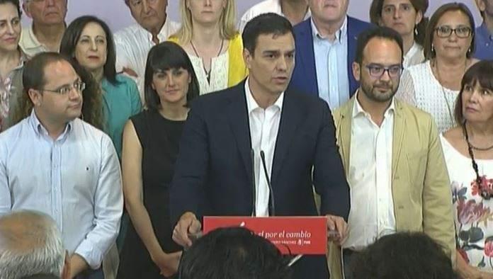 Pedro Sánchez. Pedro Sánchez comparece ante la prensa tras los resultados de las elecciones del 26J.