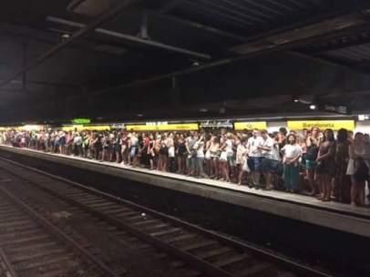 Huelga de metro en Barcelona.