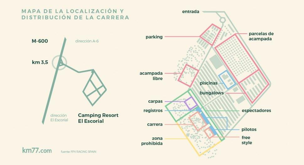 Mapa de la localización y distribución de la carrera