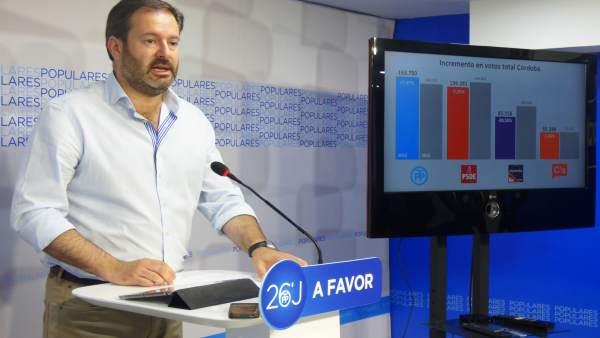 Adolfo Molina en la sede del PP de Córdoba