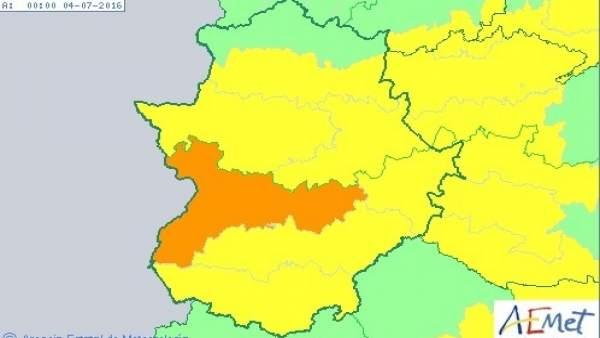 Mapa de alertas por calor de Aemet