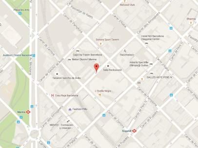 Localización de la calle almogàvers donde se encontraban las víctimas en el momento de la agresión.