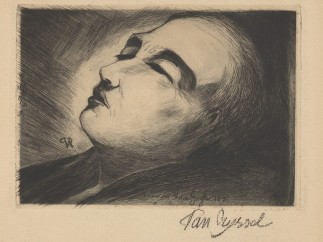 Paul van Ryssel (Paul-Ferdinand Gachet), Vincent van Gogh on his Deathbed, etching, 1890