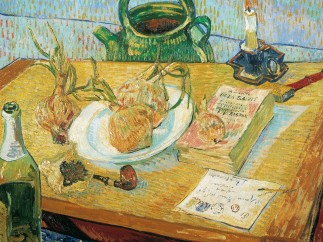 Vincent van Gogh, Still life with a plate of onions, beginning of January 1889, oil on canvas, January 1889