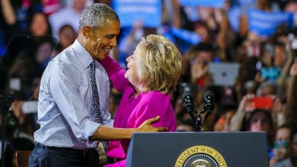 Obama y Clinton en su primer mitin conjunto