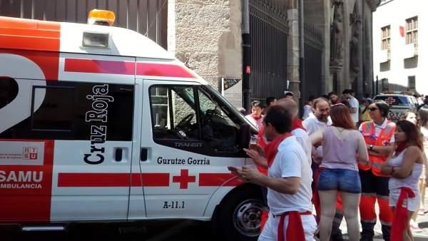 Cruz Roja en el chupinazo de los Sanfermines