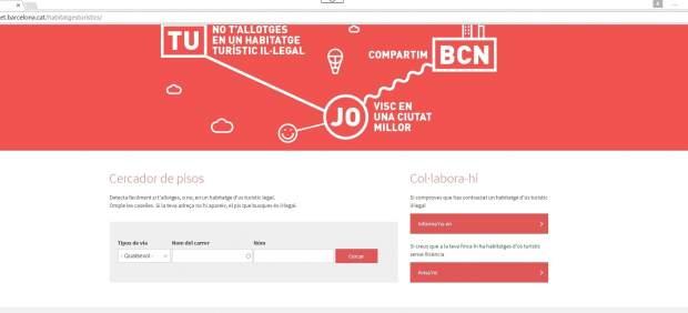 Web del Ayuntamiento de Barcelona sobre pisos turísticos.