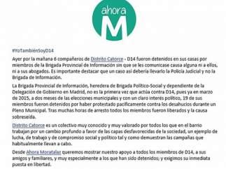 Imagen del comunicado difundido por Ahora Madrid en Facebook.