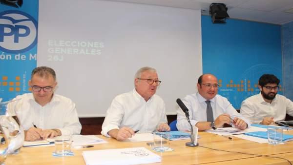 JUNTA DIRECTIVA PP CON VALCÁRCEL Y PEDRO SÁNCHEZ A LA CABEZA
