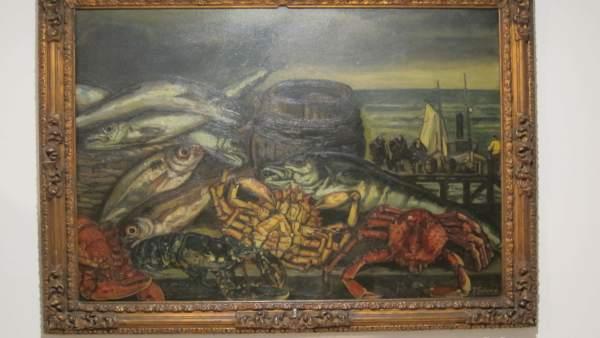 Bodegón con marina, óleo sobre lienzo de José Gutiérrez Solana