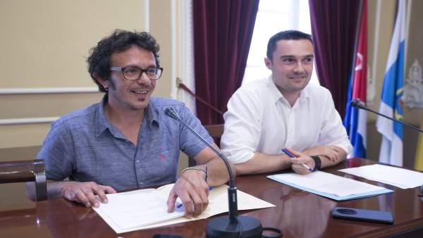 José María González, alcalde de Cádiz, y Martín Vila, primer teniente de alcalde