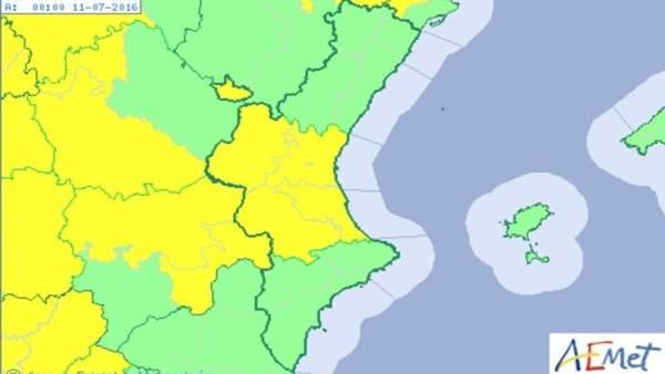 Alerta amarilla por altas temperaturas en la provincia de Valencia