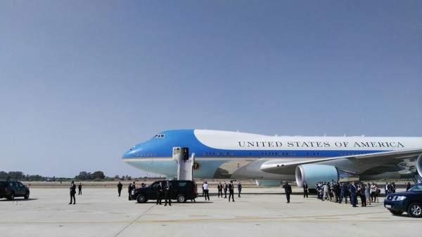 Aterrizaje del avión del presidente de EEUU, Barack Obama, en Rota