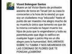 Comentario, Facebook, Vicent Belenguer, torero Barrio.