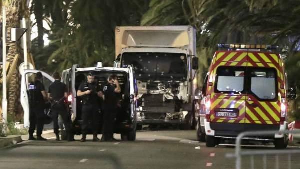 El camión del atentado de Niza