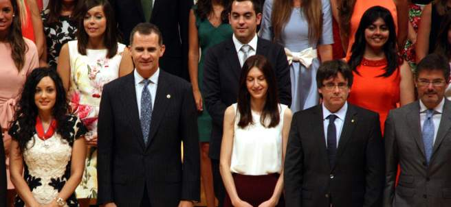El rey Felipe VI en la entrega de nuevas carteras judiciales en el Auditori de Barcelona.