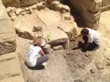 Excavación en el yacimiento romano de Los Bañales, en Uncastillo