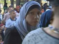 Una de las refugiadas a su llegada a España