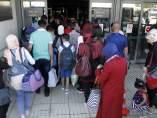 Los refugiados sirios a su llegada a Madrid este martes