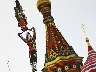 Joerg Mitter (Austrian, born 1980).  Levi Sherwood of New Zealand performs in front of the St. Basils Cathedral in Moscow's Red Square, Russia , June 24,  2010